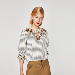 Zara Embroidered striped top Blouse Women size M